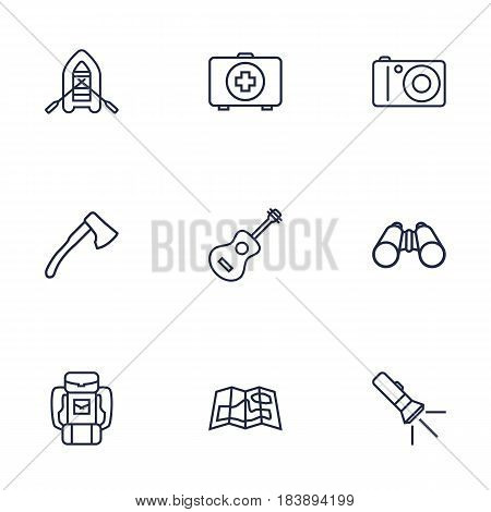Set Of 9 Picnic Outline Icons Set.Collection Of Guitar, Baggage, Binoculars And Other Elements.