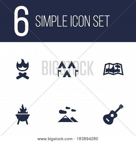Set Of 6 Adventure Icons Set.Collection Of Bbq, Camp, Map And Other Elements.