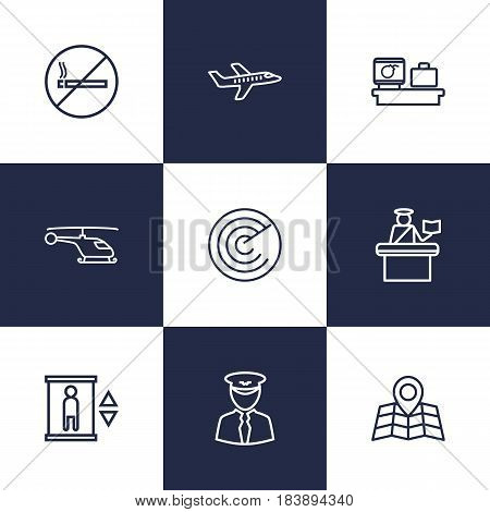 Set Of 9 Land Outline Icons Set.Collection Of Helicopter, No Smoking, Luggage Check And Other Elements.