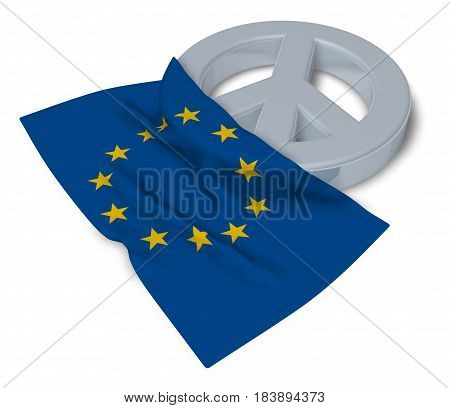 peace symbol and flag of the european union - 3d rendering