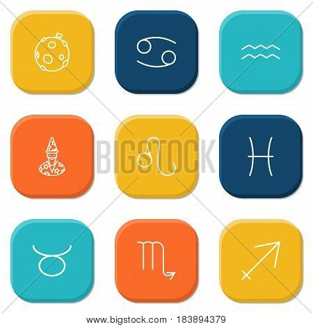 Set Of 9 Galaxy Outline Icons Set.Collection Of Cancer, Sagittarius, Astrologer And Other Elements.