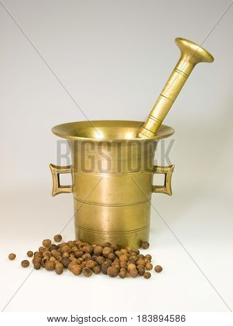 Old bronze mortar with mallet and pimento spice