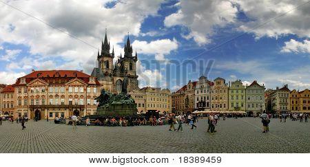 Panoramic view of Old Town Square (Stare Mesto or Staromestske namesti) in Prague, Czech Republic.