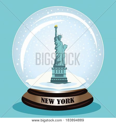 The Statue of Liberty snow globe. Flat style vector illustration.