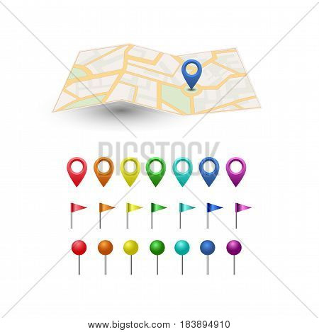 Vector icon. Map of the world. Point on the . Pin and the distance, GPS navigator