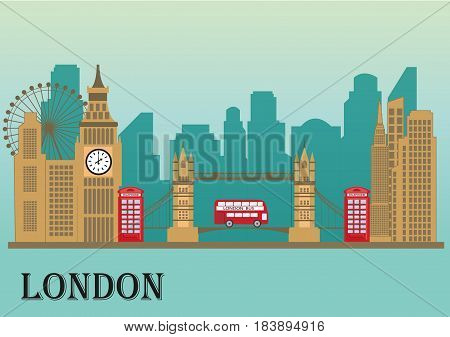 London city skyline silhouette. Traveling illustration with famous historical monuments