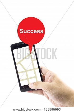 Navigation concept. success search with gprs on mobile for business