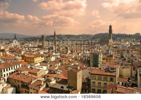 Aerial view on old historical part of Florence, Italy.