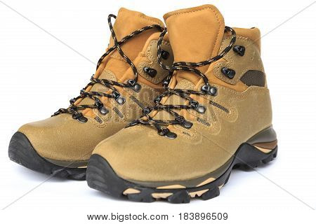 closeup of new hiking boots on white