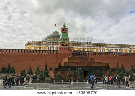Russia Moscow - 24.09.2016: Lenin Mausoleum at the Kremlin wall on the red square