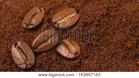 Coffee beans and ground coffee close up. Selective focus