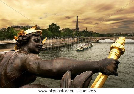 View on Seine River and Eiffel Tower from Alexander III bridge (pont Alexandre III) in Paris, France. poster