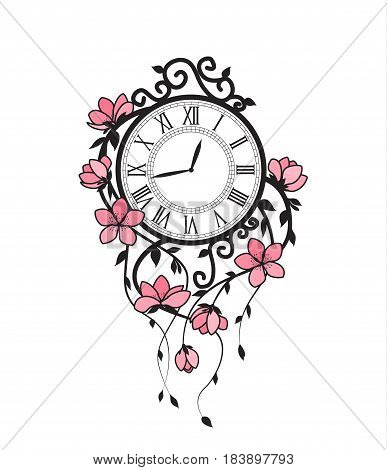 Vector illustration of pink flowers and clock. Floral branches Sakura on a white background