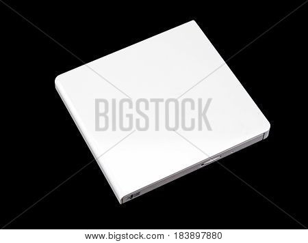 External DVD CD Writer isolated on black background.