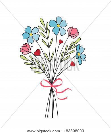 Vector illustration of flower bouquets. The decoration of wildflowers on a white background