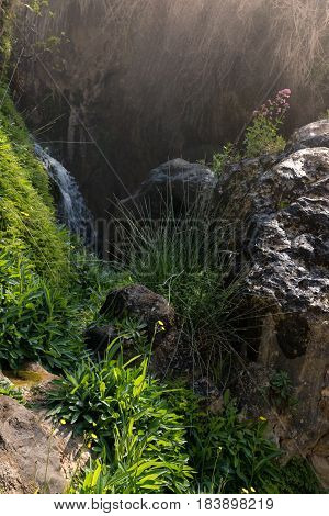 Details of the sources of the river Algar in the province of Alicante Spain.