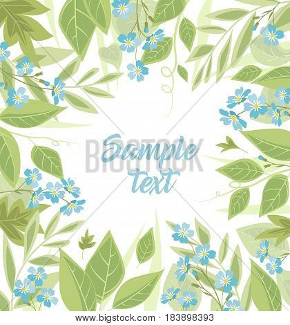 Vector illustration blue flowers. Branch of blue forget-me-not flowers and leaves