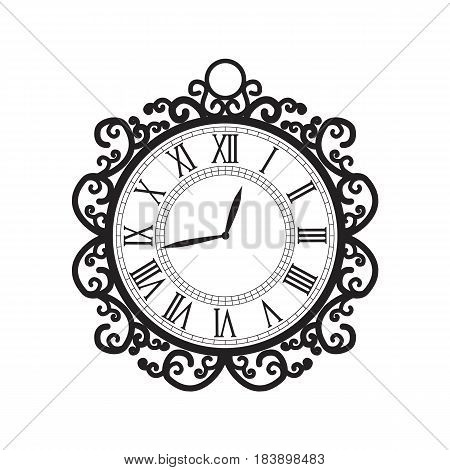 Vector illustration of clock. Decoration clock on white background
