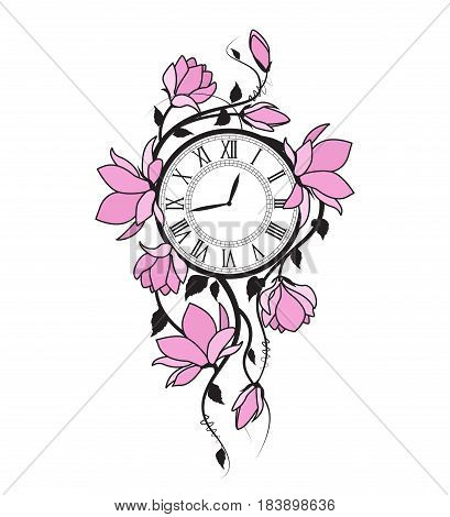 Vector illustration of pink flowers and clock. Floral branches Magnolia on a white background