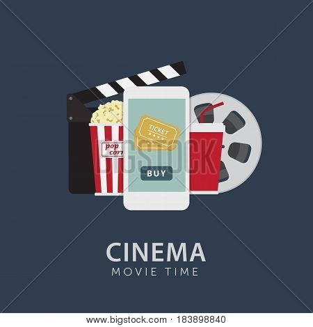 Online Cinema Ticket Illustration. Cinema Ticket Order with Mobile Phone.