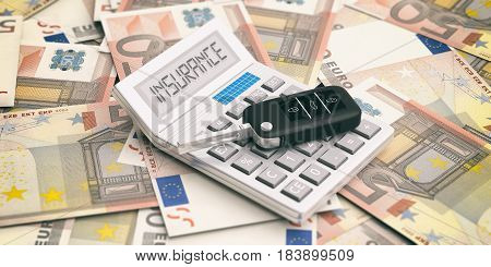 Car Key And Calculator On Euros Banknotes Background. 3D Illustration