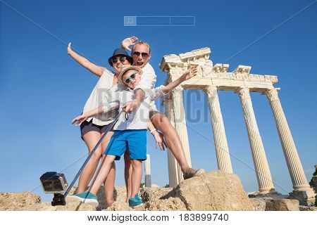 Happy family selfie photo on summer vacation