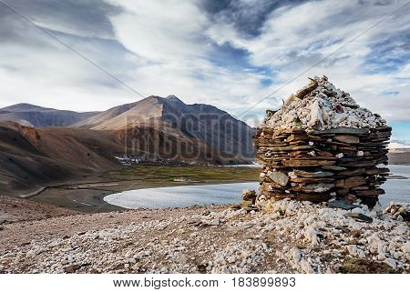 Vilage Korzok on the Tso Moriri Lake in Ladakh North India