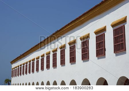 Historic Spanish colonial building in the old city of Cartagena de Indias in Colombia.