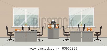Office room in a beige color. There are gray tables, black chairs, cabinet for documents, printer and other objects in the picture. Vector flat illustration.