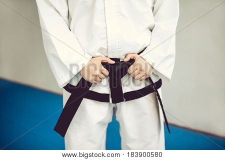 Hands On The Black Belt And Kimono. The Martial Art Of Tae Kwon Do And Karate.