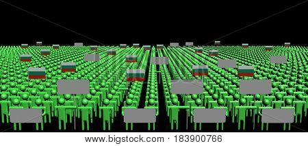 Crowd of people with signs and Bulgarian flags 3d illustration