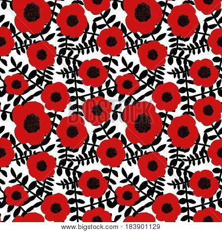 Seamless floral pattern hand drawn abstract red poppy flowers black twigs leaves white background fabric wallpaper tapestry quilting