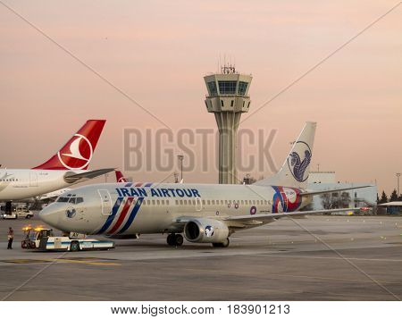 ISTANBUL, TURKEY-MARCH 24, 2017: An Iran Air Tour jet sits on the tarmac in Istanbul, Turkey.