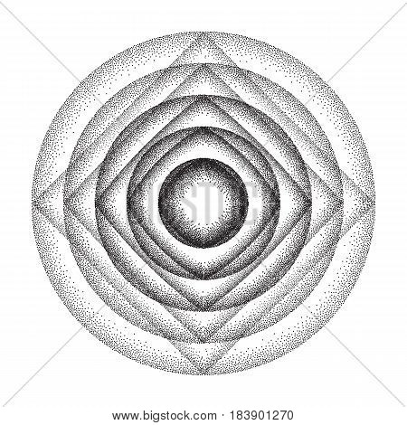 Vector illustration of rounded circles background consist of black dots on white backdrop. Abstract gradient dotted geometric template with halftone effect