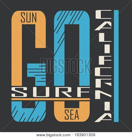 California surf typography, t-shirt graphics, Abstract, Stock Vector Illustration, T-Shirt Design Print Design