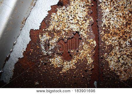 Corrosive Metal Background. Abandoned House