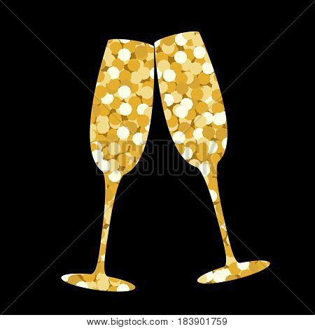 Two champagne glasses made of golden sequins on a black backdrop