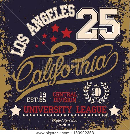 Los Angeles typography, t-shirt stamp graphics, american football, vintage graphics, sports graphics for t-shirt