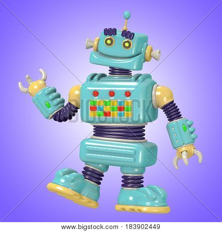 Funny blue robot 3D illustration. Science fiction . Original cartoon character