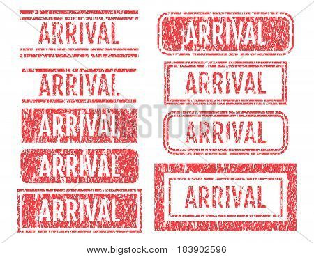 Arrival Rubber Stamps Grunge Style With Scratches Set