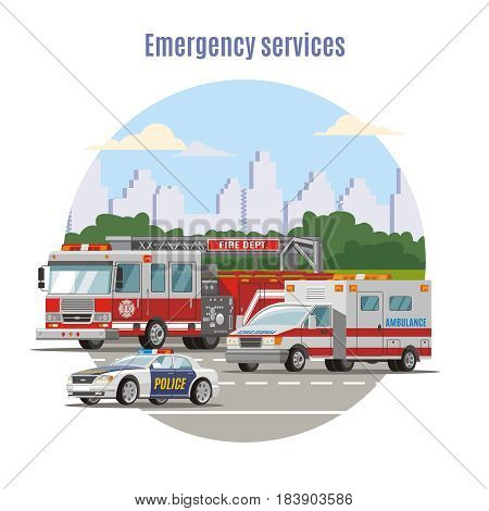 Colorful emergency city transport concept with fire engine ambulance and police cars on road vector illustration