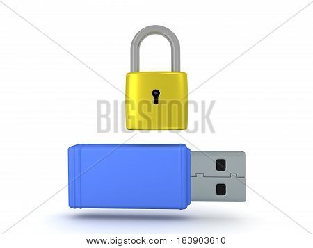 3D illustration of a usb stick with a pad lock above it. Image could convey data security or data encryption.