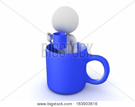 3D Character sitting in a giant cup while holding a cup. This image is cup inception.