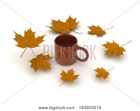 3D illustration of a cup of coffee with yellow autumn leaves around it. Image could convey the nostalgic feeling of autumn.