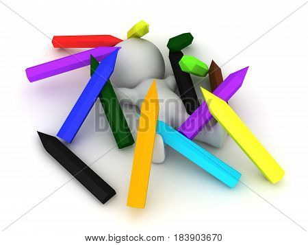 3D Character sitting in a pile of large pencils. Image could be used to convey creativity.