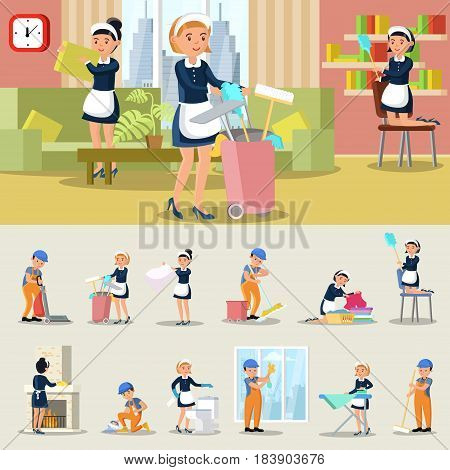 Cleaning service concept with company employees wearing uniform in different situations isolated vector illustration