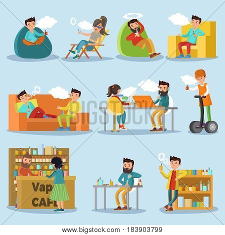 People in vape cafe collection with vapors in different situations and various portable accessories isolated vector illustration