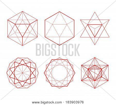 Hexagonal Shapes Set. Crystal Forms.