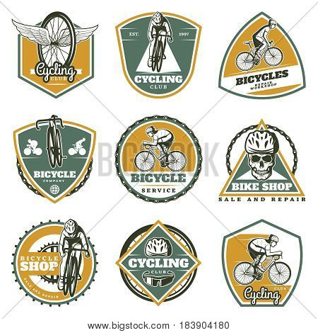 Colored vintage biking labels set with cyclists bicycles skull chain sprockets wheels sport equipment isolated vector illustration