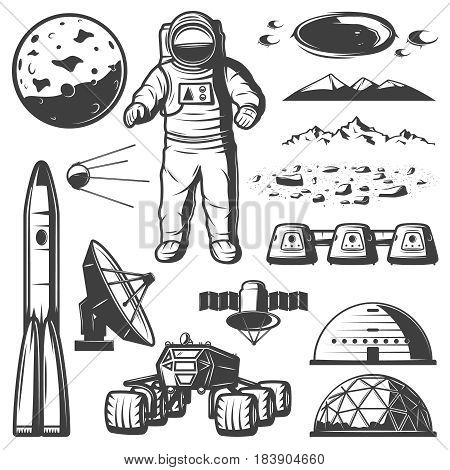Vintage Mars space elements collection with cosmonaut spaceship rover planet station radar satellite mountain craters isolated vector illustration